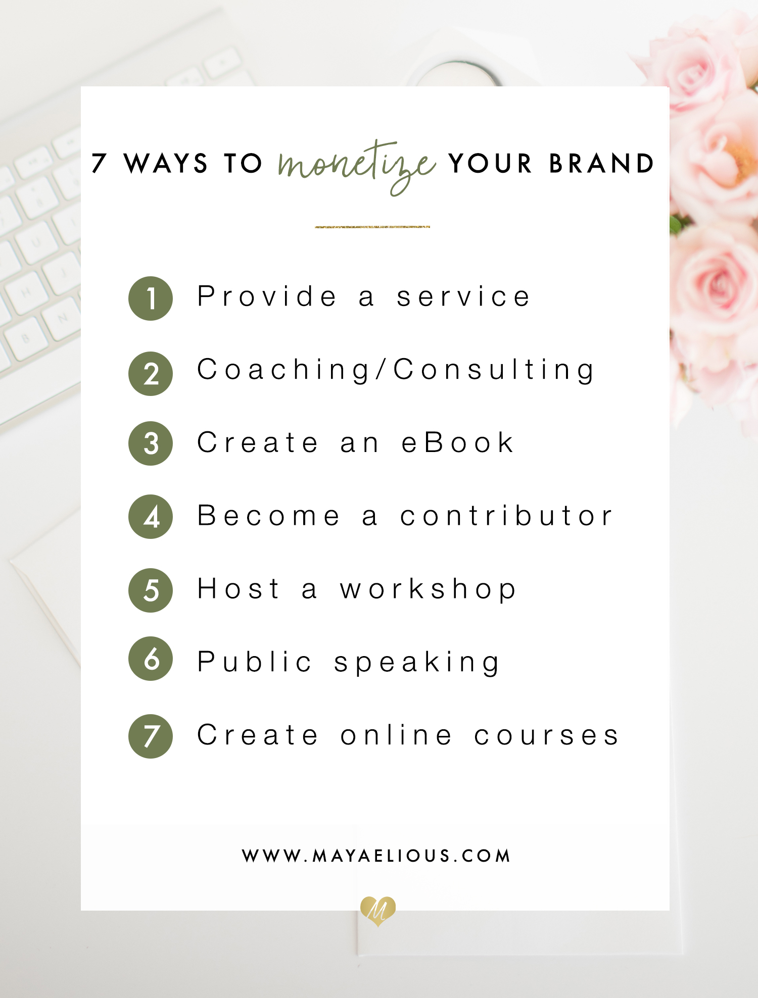 7 Ways To Monetize Your Brand | mayaelious.com